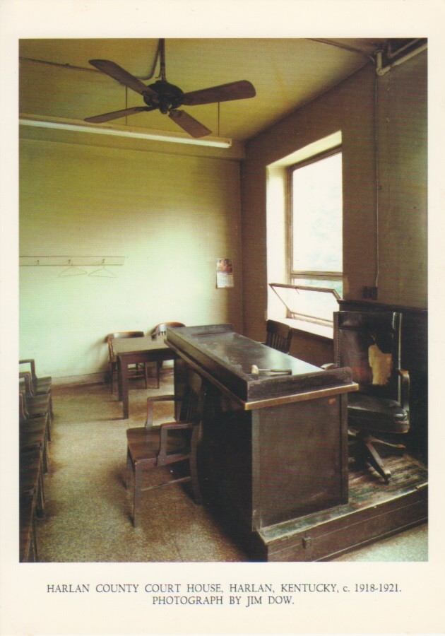 (DOW, JIM). - JIM DOW: VINTAGE COLOR POSTCARD - HARLAN COUNTY COURT HOUSE, HARLAN, KENTUCKY, 1918-21