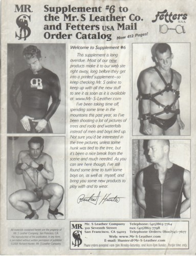 (MR. S LEATHER COMPANY) (FETTERS USA). HUNTER, RICHARD - SUPPLEMENT NUMBER 6 TO THE MR. S LEATHER COMPANY AND FETTERS USA MAIL ORDER CATALOG