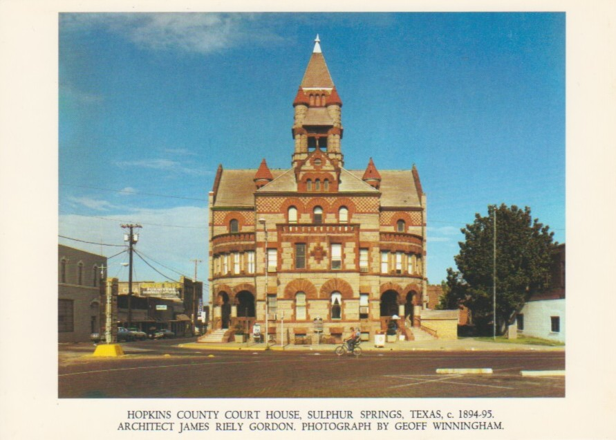 (WINNINGHAM, GEOFF). - GEOFF WINNINGHAM: VINTAGE COLOR POSTCARD - HOPKINS COUNTY COURT HOUSE, SULFUR SPRINGS, TEXAS, c1856-58