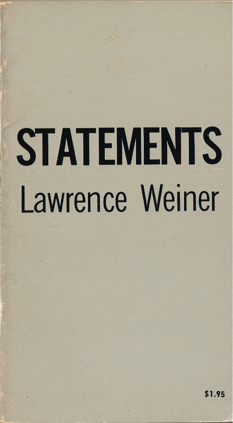 (WEINER, LAWRENCE). WEINER, LAWRENCE - STATEMENTS: LAWRENCE WEINER