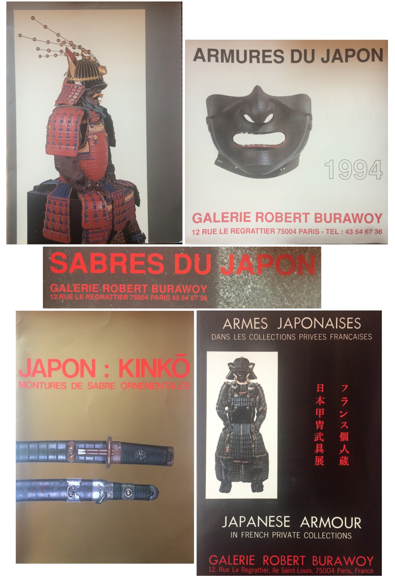 BURAWOY, ROBERT - A GROUP OF FIVE CATALOGUES OF JAPANESE ARMS, ARMOR, AND SWORDS (INCLUDING ARMES JAPONAISES DANS LES COLLECTIONS PRIVEES FRANCAISES / JAPANESE ARMOUR IN FRENCH PRIVATE COLLECTIONS) ISSUED BY GALERIE ROBERT BURAWOY
